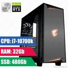 Oyun komputeri GIGABYTE AC300W LITE i7-10700K-32GB,480SSD+1TB HDD-RTX2070 8GB