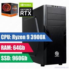 Oyun komputeri Thermaltake  RYZEN 9 3900X(12-core, 24-thread)RAM 64GB,960SSD+1TB HDD-RTX-2060 6Gb