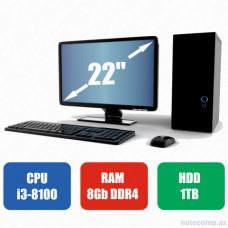 Masaüstü kompüter Acer i3-8100-RAM 8GB-HDD 1TB-Acer Monitor 22Full HD